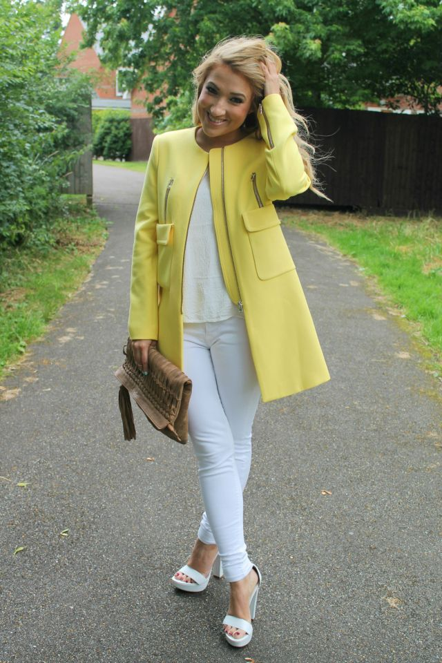 yellow coat zara sale